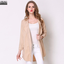 Spring Autumn Winter Overcoats Long Sleeve Solid Color