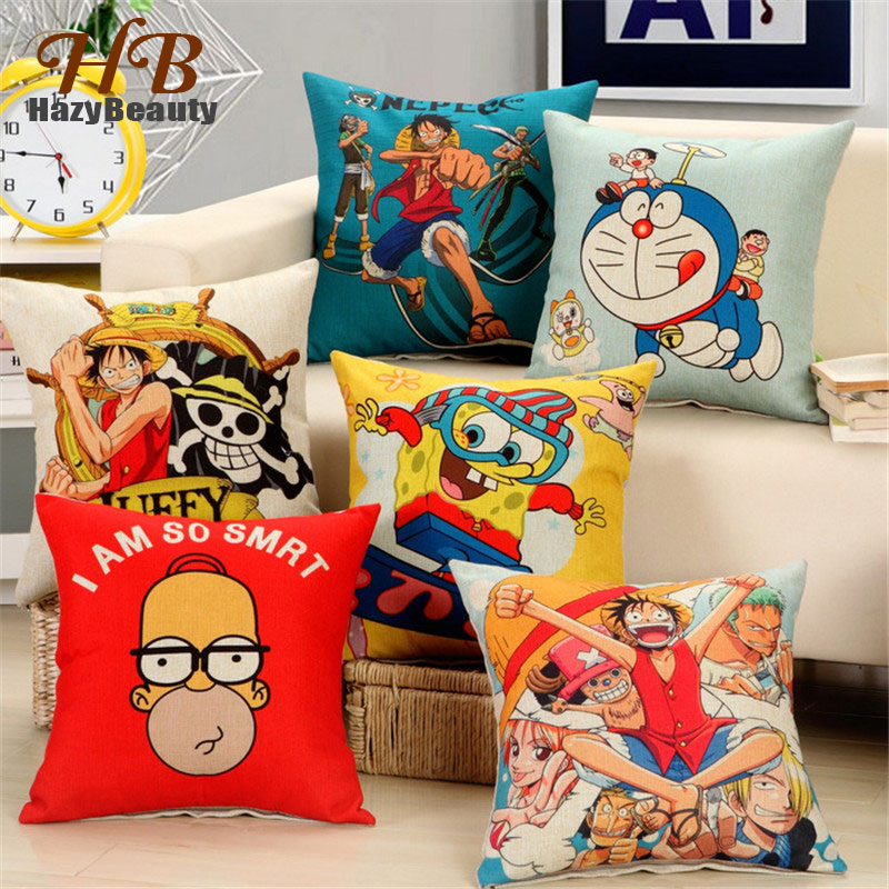 2018 Anime One Piece Creative Cushion Cover 45*45CM Cotton Linen Pillow Cover for Car Sofa Dicorative Pillowcase Cushions Throws