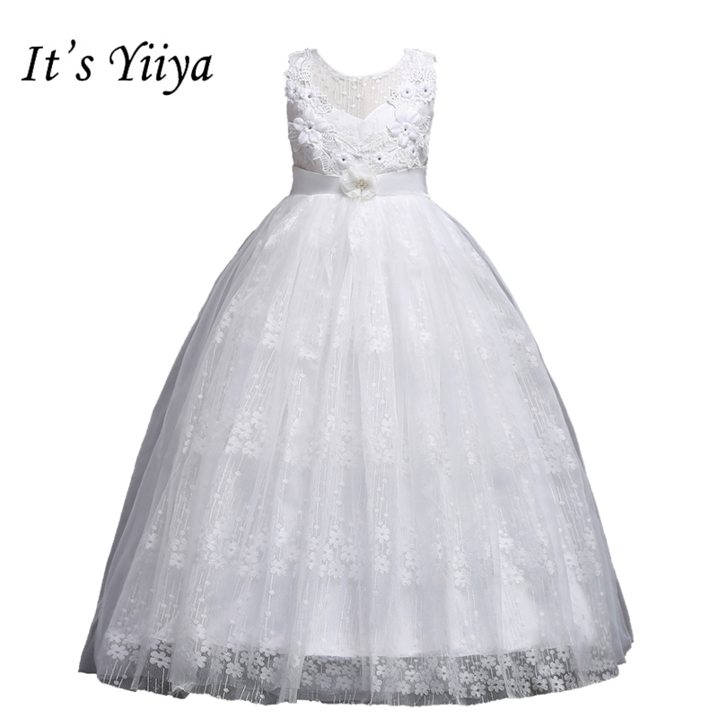 It's YiiYa   Flower     Girl     Dresses   6 Colors Sleeveless O-Neck Floor Length   Girls   Pageant   Dresses   Vestidos De Noches Para Ninas 831
