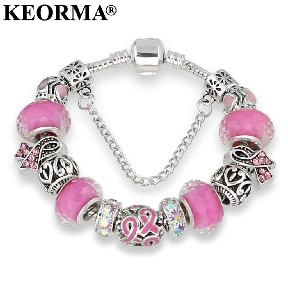 KEORMA Lovely Girl Silver Color Women Bracelet Murano Glass Bead Crystal New Breast Cancer Awareness Pink Ribbon Charm Bracelet