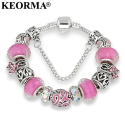 Keorma lovely girl silver color women bracelet murano glass bead crystal new breast cancer awareness pink.jpg 250x250