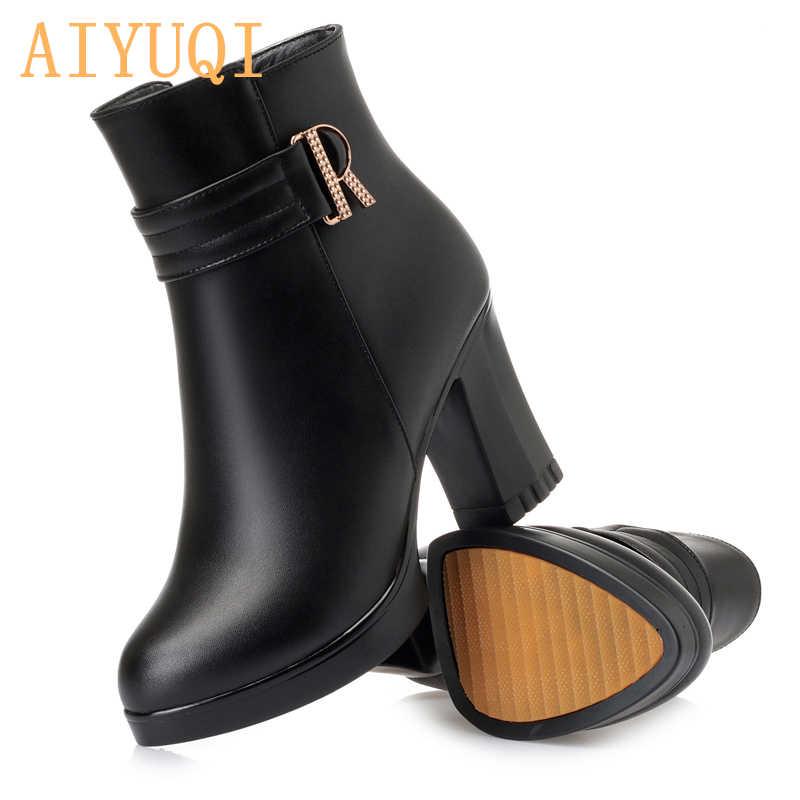 AIYUQI/женские открытые ботинки; Сезон Зима; коллекция 2019 года; женские модельные ботинки из натуральной кожи; трендовые шерстяные женские ботинки; женские вечерние ботинки на высоком каблуке