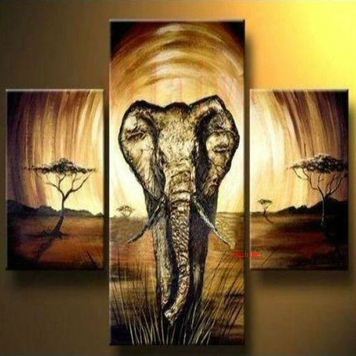 Free Shipping 3 Panel Canvas Abstract Art Pure Handmade OIL PAINTING ...