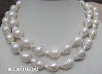 Новый стиль горячая распродажа *** 12 18 мм натуральный белый барокко жемчужное ожерелье 32 дюймов мода свадебные ну вечеринку ювелирные издел