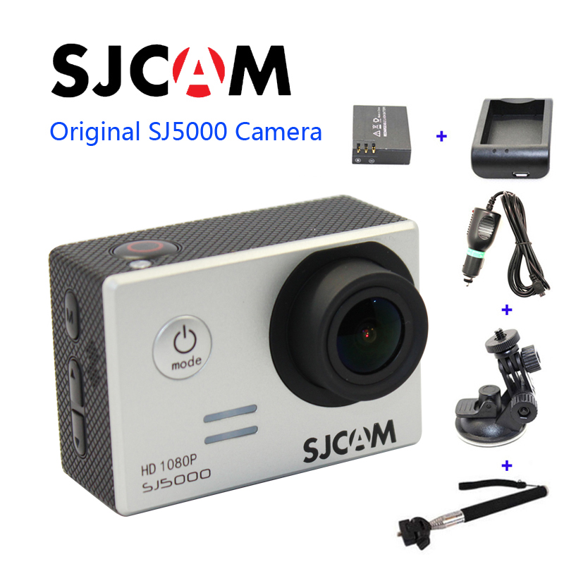 Free shipping!Original SJCAM SJ5000 Sport Action Camerar+Car Charger+Holder+Monopod+Extra 1pcs battery+Battery Charge for camera free shipping original sjcam sj5000 sport action camerar car charger holder monopod extra 1pcs battery battery charge for camera