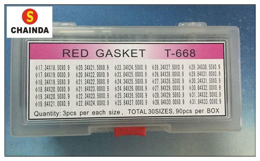 Livraison Gratuite 1 Set 0.9mm Rouge Petite Taille Montre Cristal O-Anneau Joint pour Réparation De Montre