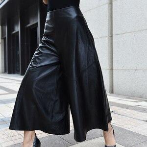 Image 3 - Pantalones de lujo de alta calidad para Mujer, pantalón hasta el tobillo, de piel auténtica, Pantalones de pierna ancha de cintura, informales, holgados, 2020