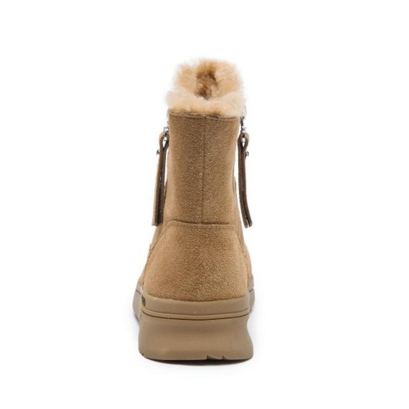 Chaussures Mode 3539 Learther En Razamaza Zipper Chaud noir Bottes Fourrure Cheville Femmes Appartements Beige camel Nouvelle Hiver Peluche Taille Real RL354qjA