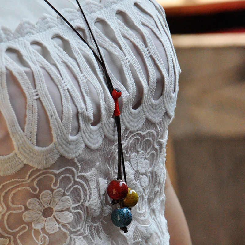 Phụ nữ Ceramic Hạt Mặt Dây Chuyền Áo Len Retro Chuỗi Dài Tassel Dây Thừng Bện Quyến Rũ Tuyên Bố Choker Trang Sức Phụ Kiện