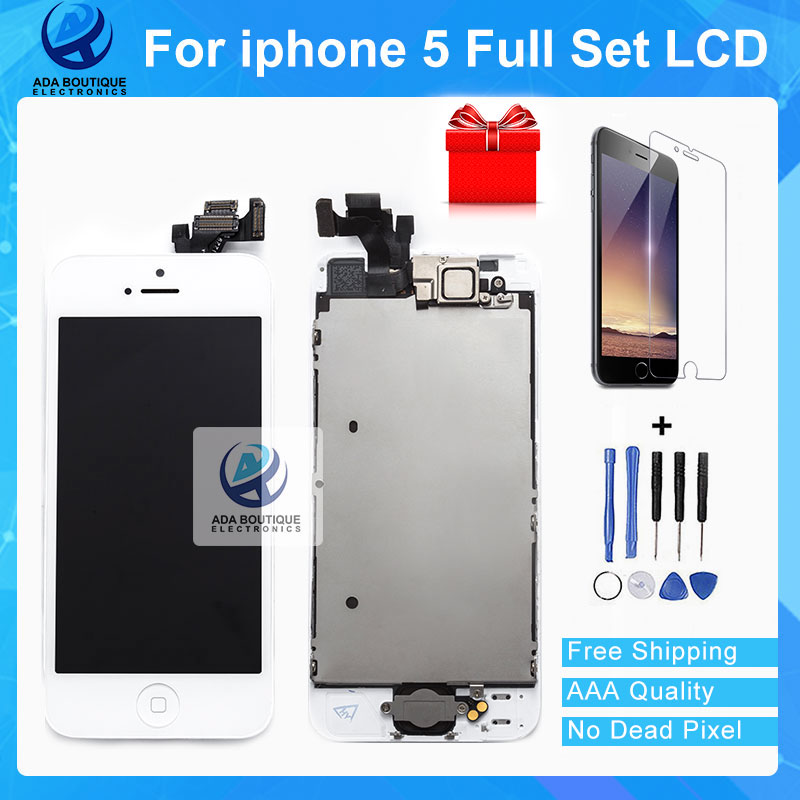 Best Quality AAA Full Set Assembly LCD Display For iPhone 5 5G Touch Screen White and Black Fast Shipping With Tools Gift