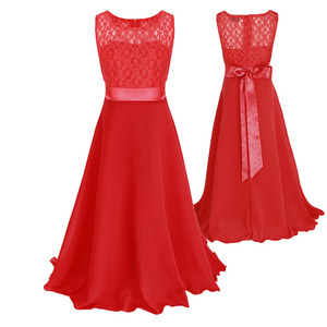 2-12 Yrs Lace Long Fomal Dress for Wedding Party Prom Graceful Dress with Big Bow in 10 Colors Baby Girl Clothes for Ceremonies