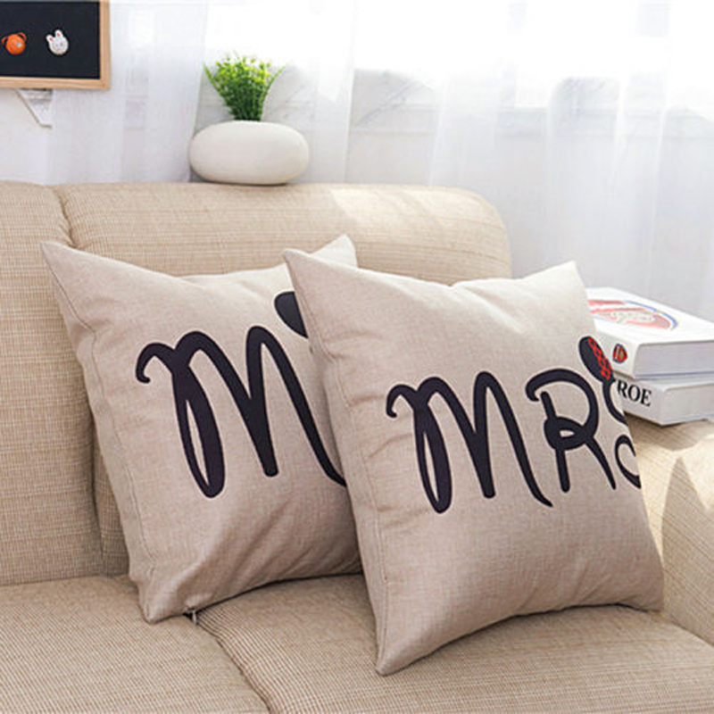 Love Couple Pillow Case Letter Mr and Mrs Pillow Cover Mr and Mrs Cushion Covers for Home Wedding Decoration Pillowcases
