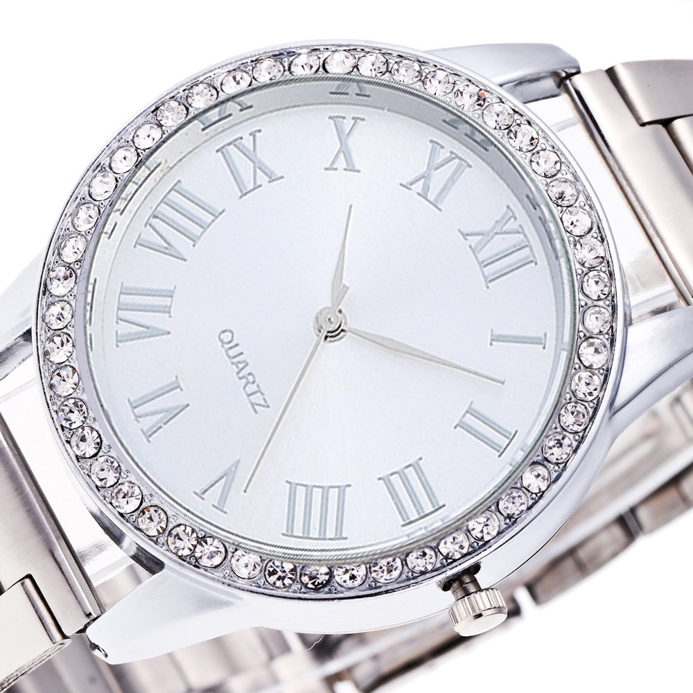 fashion luxury women watches silve Stainless steel dial watch crystal ladies quartz watch clock High quality luxury accessories 2016 women diamond watches steel band vintage bracelet watch high quality ladies quartz watch
