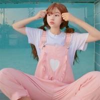2017 Autumn Korea Women Bts The New Soft Sister Kawaii Pink Printing Kangaroo Pocke Bib Harajuku