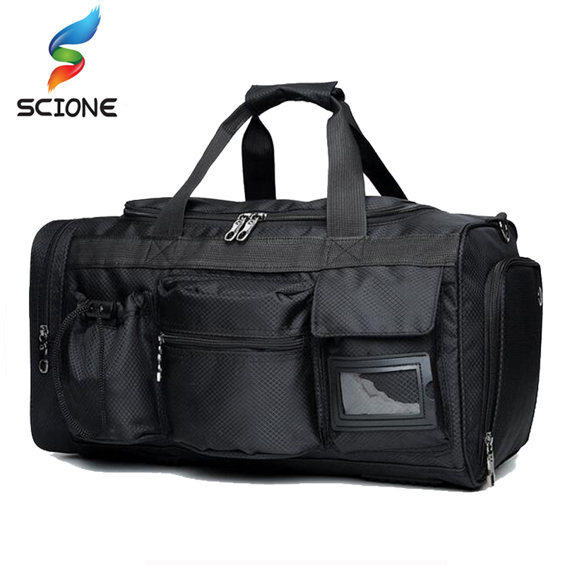 Hot Top Quality Nylon Sports Gym Bag Travel Gear Impermeable Gran viaje al aire libre del bolso de los hombres para Fitness Negro Duffle Bags