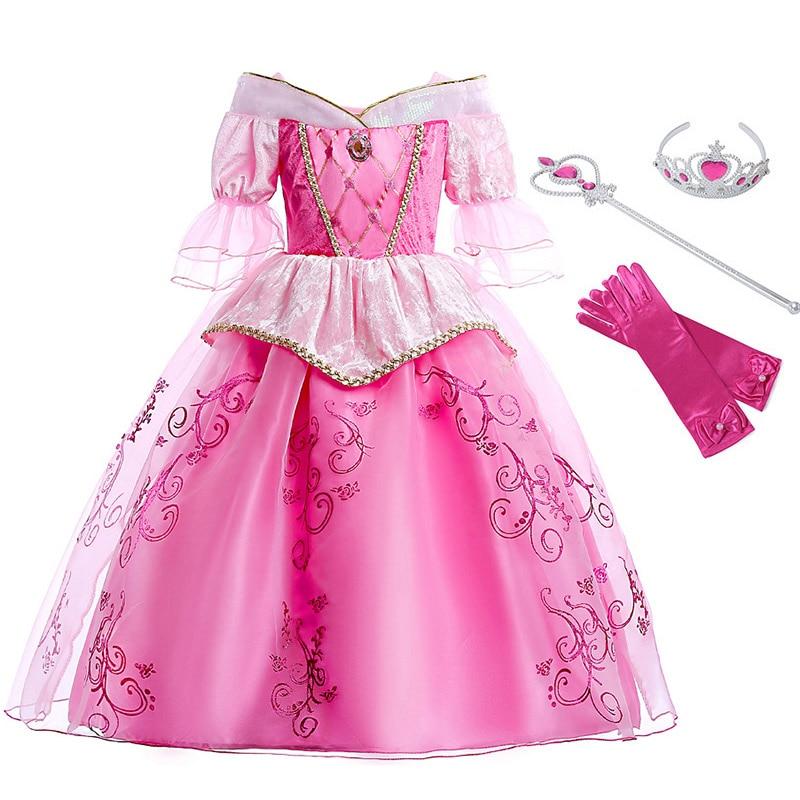 Princess Aurora Costume Cosplay Sleeping Beauty Dress Children Pink Flare Half Sleeve Ball Gown Kids Birthday Halloween Dress