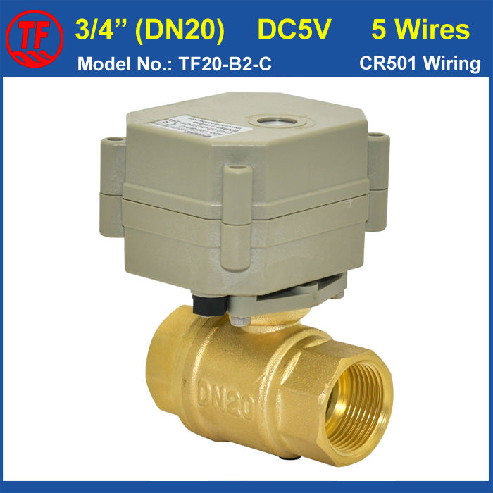 Hot Sale DC5V 5 Wires Brass 3/4'' Motorized Ball Valve BSP/NPT DN20 Actuated Valve With Singal Feedback For Water Appication mini brass ball valve panel mountable 450psi with lever handle chrome plated malexfemale npt
