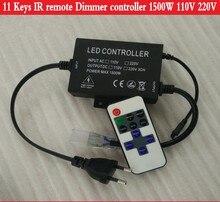 2016 New 110V 220V Led dimmer with 11keys IR remote controller 1500W for 100m  single color LED strip 5050 5730 5630 3014 2835
