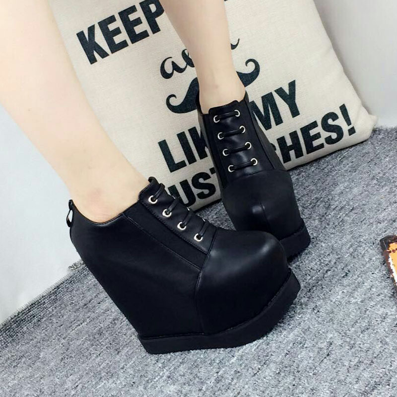 Korean Fashion Increase Height Motorcycle Boots 2016 New Platform High Heels Shoes Office Black Wedge Ankle