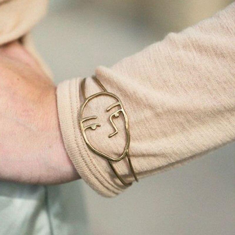 MWsonya Hollow Human Face Bracelets for Women Unique Design Rock Funny Party Decor Gold Color Open Bangles SZ001