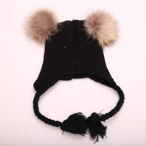 c029b8e1fb6 New Winter Warm Baby Knit Hat Double Faux Fur Pom Pom Hats Boy Girls  Natural Fur Ball Beanie Kids Caps Two Fur Pompoms Bonnets-in Hats   Caps  from Mother ...