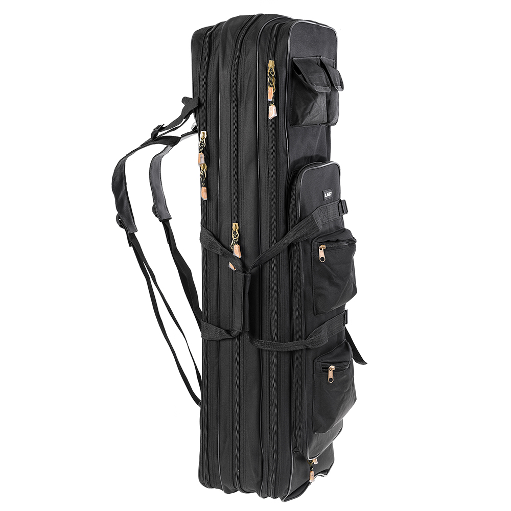 80cm/100cm Outdoor 3 Layer Fishing Bag Backpack Fishing Rod Reel Carrier Bag Fishing Pole Tackle Storage Bag Carry Case