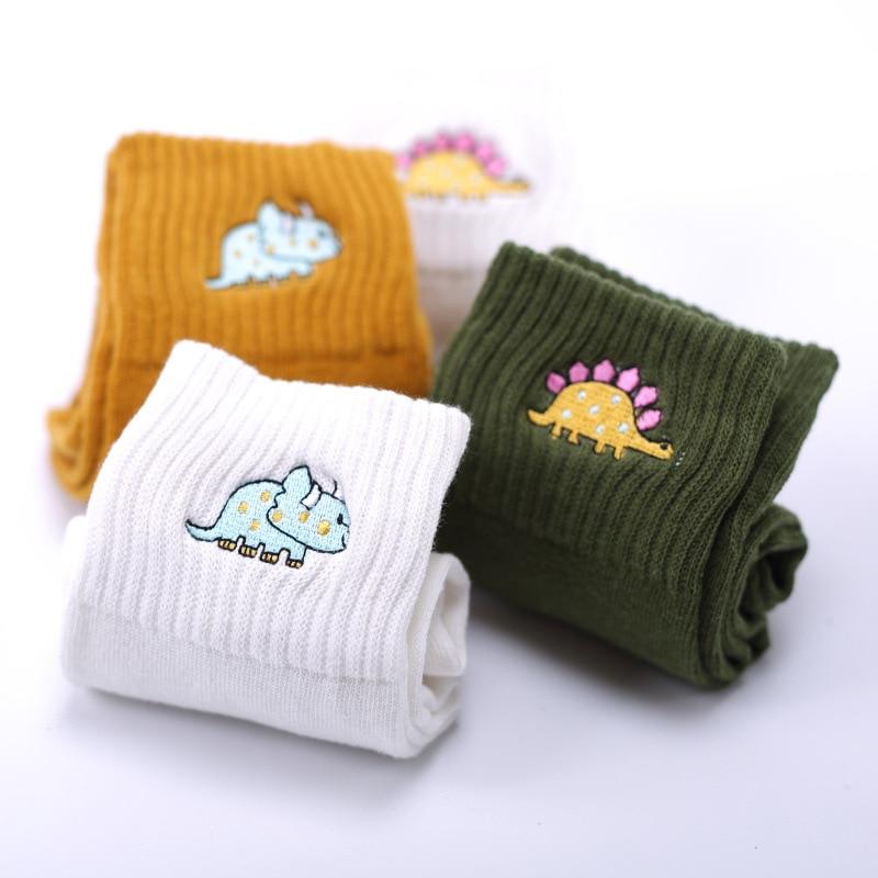 Cute Women Embroidery Dinosaur Cotton Socks white Lovely Cartoon Animal Vintage Short Socks Novelty Crazy Funny Cozy Sock Funky