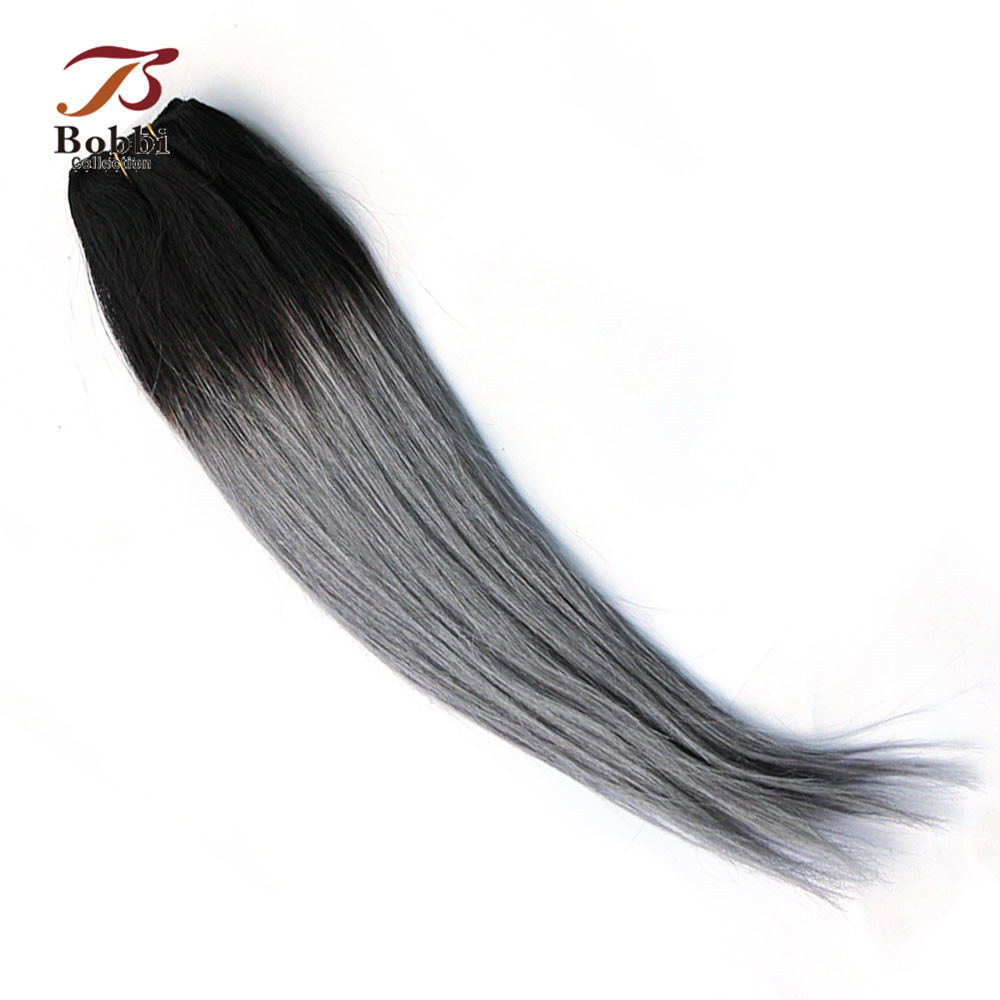 Bobbi Collection 1 Bundle Brazilian Straight Two Tone T 1B Grey Remy Human Hair Extension Ombre Hair Weave Bundles