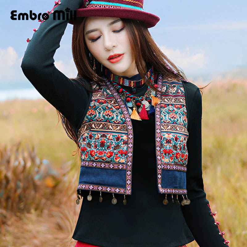 Embro Mill High Quality Women Tops Autumn Embroidery Short Coat V-Neck Sleeveless Slim Lady Floral Vest Coat Jacket Female M-XXL