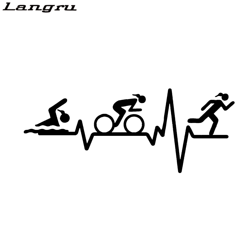 Langru Heart Beat Line Triathlon Swim Girl Runner Bicycle Vinyl Decor Car Sticker Accessories Jdm(China)