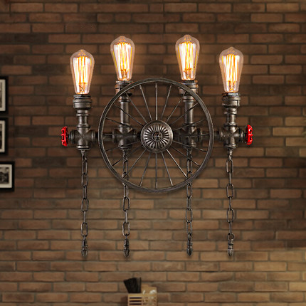все цены на Creative Bicycle Wheel Pipe Wall Light 2/4 arms, American Retro Industrial Loft Wrought Iron restaurant Bar Wall Lamp deco art