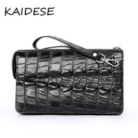 KAIDESE 2017 new luxury brand alligator wallet men's vintage black leather handbag with a bag of alligator clips around the worl
