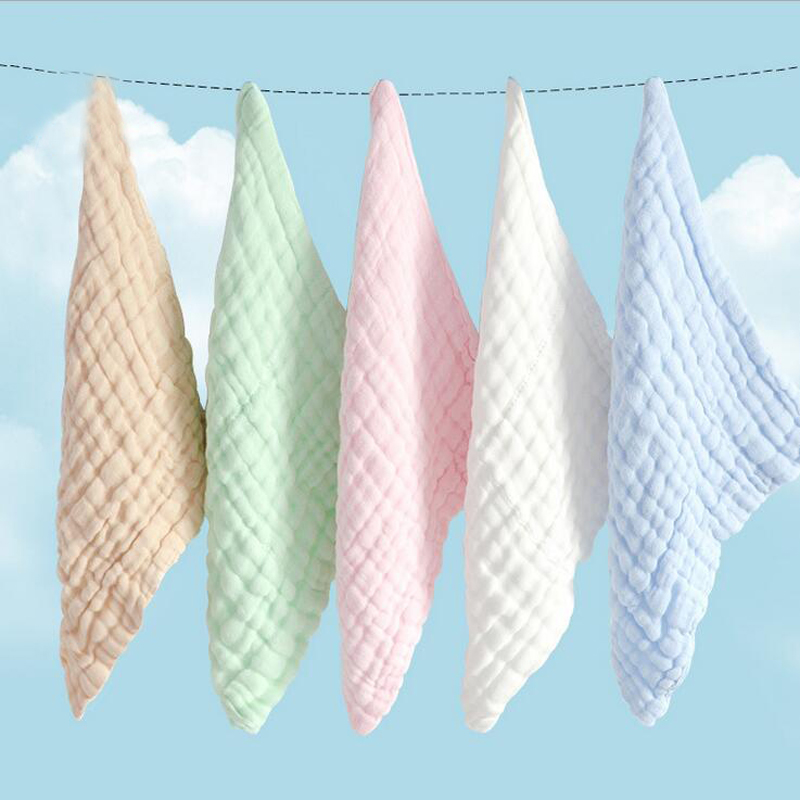 free shipping 5pcs 100% cotton absorbent small baby feeding towel, Super Soft baby washcloth, 5 colors baby wipe handkerchief