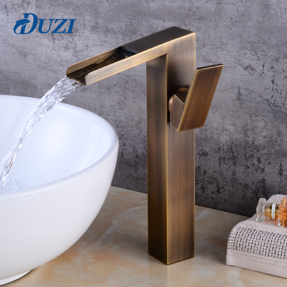 DUZI Waterfall Water Mixer Antique Brass Tall Bathroom Sink Mixer Tap Single Handle Deck Mounted Cold and Hot Basin Faucets hpb brass tall basin bathroom faucet deck mounted hot and cold water single hole sink tap mixer torneira hp3109