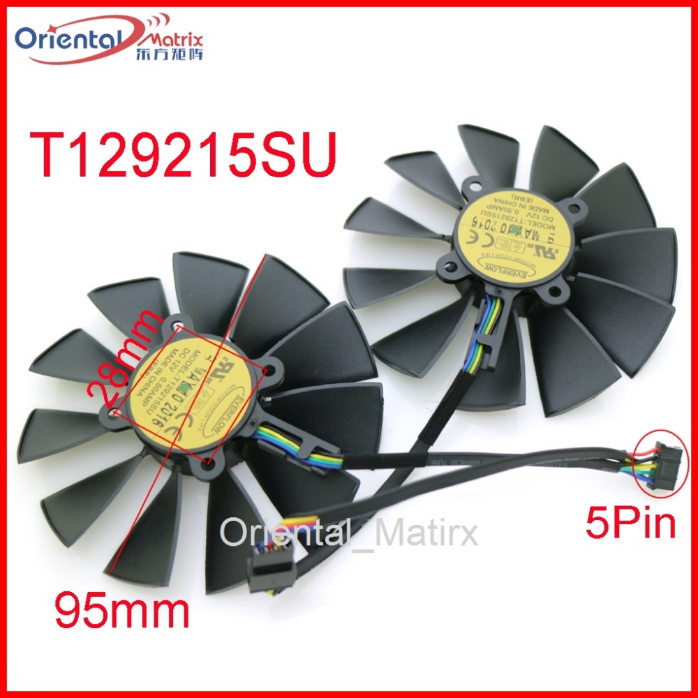 Free Shipping T129215SU 12V 0.5A 95mm For ASUS GTX780 GTX780TI R9 280 290 280X 290X 380 Graphics Card Cooling Fan computador cooling fan replacement for msi twin frozr ii r7770 hd 7770 n460 n560 gtx graphics video card fans pld08010s12hh
