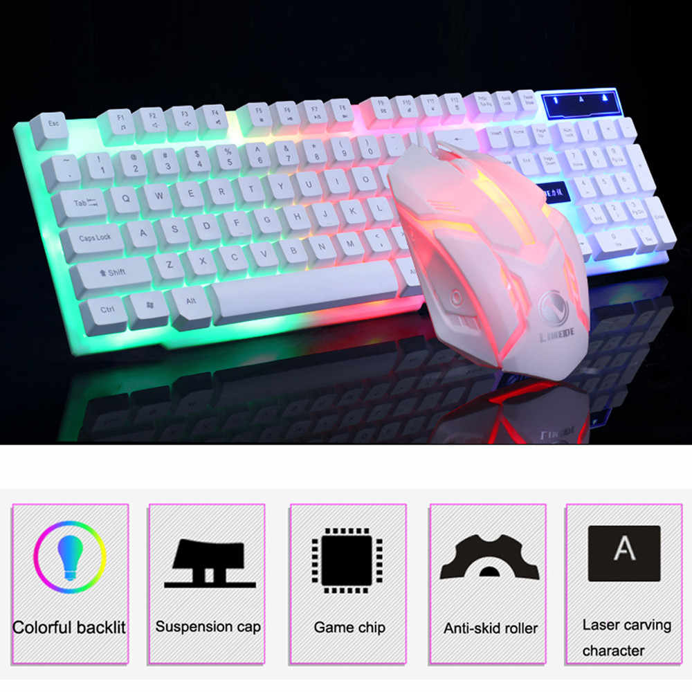 PC Wired Keyboard Lampu LED Lampu Latar Keyboard Keyboard Game GT300 Mouse Keyboard Set
