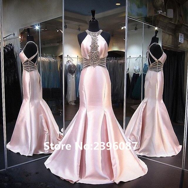 Abendkleider Pink Beaded Mermaid   Evening     dresses   Long 2017 Sleeveless Criss-Cross Back Prom Gown Party   Dress   Vestido de noche