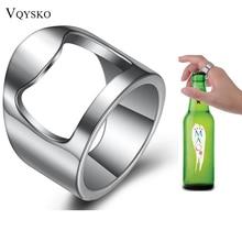 New Arrival Unique Creative Versatile Stainless Steel Finger Ring Ring-Shape Beer Bottle Opener Bar Tool stainless steel multifunctional plier finger nail clipper keychain bottle opener finger folding scissors