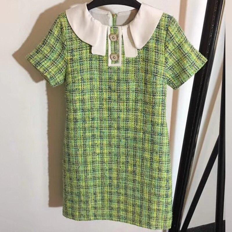 Femmes vert Mini robe à manches courtes marque de luxe robe femmes 2019 a-ligne robe Plaid