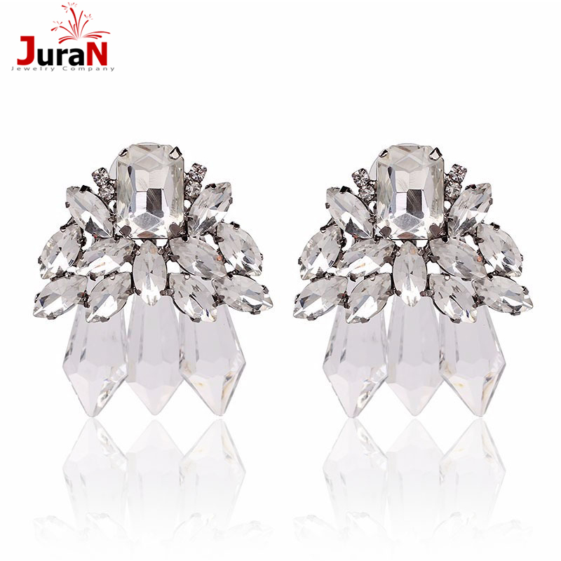 JURAN New Good Quality Hot Sale Classic Design Statement Fashion Clear Crystal Stud Earrings For Party Wedding Earring F1402