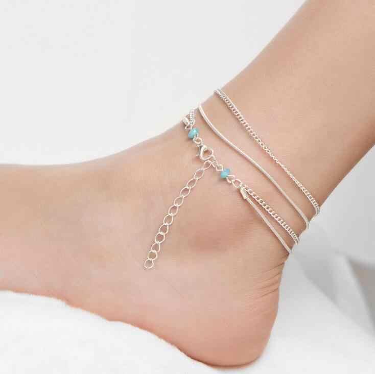 คุณภาพสูงเงินหลาย Anklets สำหรับผู้หญิงข้อเท้าสร้อยข้อมือหญิง Halhal ห่วงโซ่สีฟ้าลูกปัด Charm Beach Sandal Barefoot