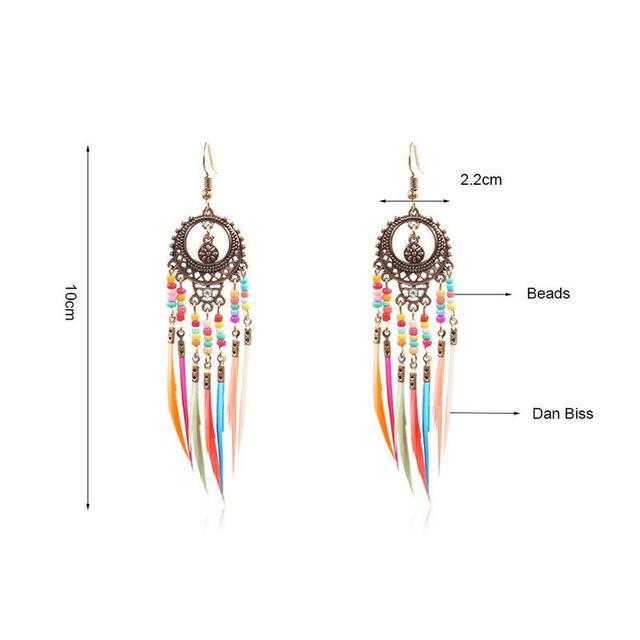 Boho Ethnic Rainbow Beads Feather Earrings