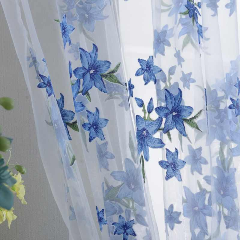 1x2M Sweet New Sheer Tap Top Curtain Window Living Room Drapes Floral Curtains Panel