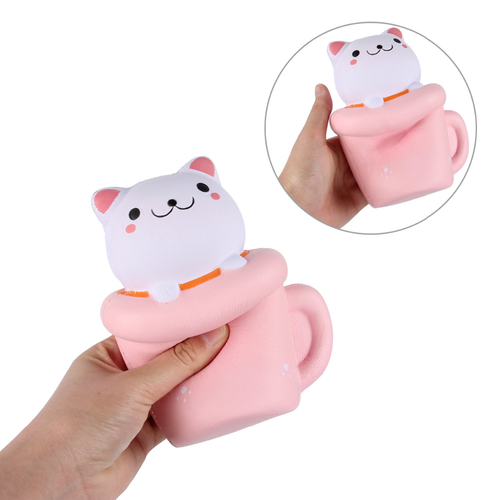Kawaii Pink Cup Cat Mini Toy For Kids Slow Rising Foam Toy Soft Hand Kids Toys Gift Fun Jokes