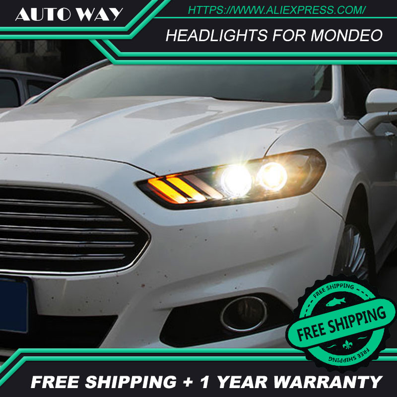 Car Styling Head Lamp case for Ford mondeo Headlights 2013 2014 2015 LED Headlight DRL Lens