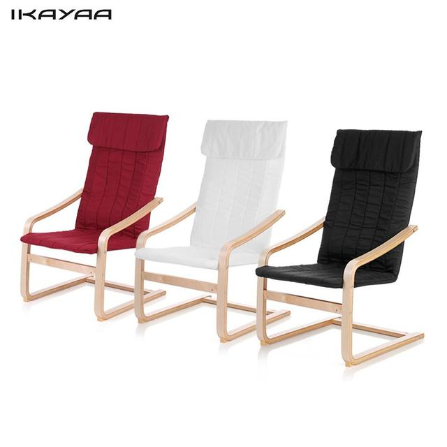 IKayaa DE Stock Chair Contemporary Wooden Reclining Bentwood Chair Solid  Birch Lounge Chair With Cushion Comfortable