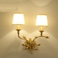 Americano única cabeça dupla cabeça de cobre lâmpada de parede luz do quarto sala de estar corredor corredor escada lâmpada lâmpadas de cobre da folha luminárias para quartos para Corredor Lâmpada De Parede