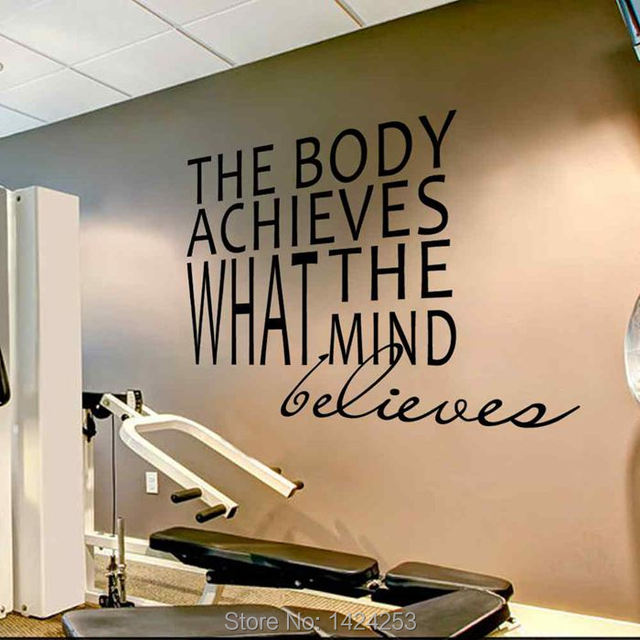 battoo gym motivation wall decal stickes the body achieves what the
