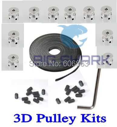 10pcs*20 teeth GT2 Timing Pulley Bore 5mm + 5M GT2 timing Belt +20*M3 screws +1*Allen Key for RepRap Prusa i3 Mendel 3D printer  hictop 5 meters gt2 timing belt for reprap 3d printer prusa i3