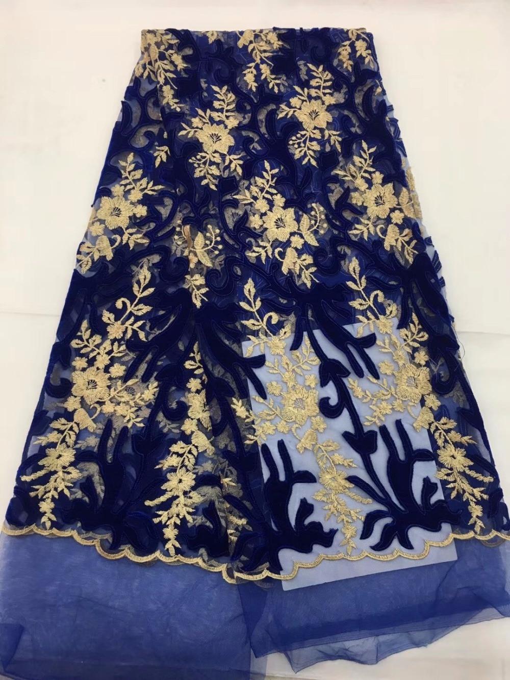 Embroidered Mesh Tulle Lace Fabric 2018 New Design Evening Dress Net velvet Fabrics